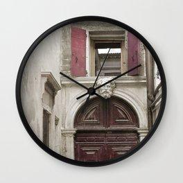 Venetian Door in Eggplant Purple Wall Clock