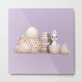 Kawaii Bunny hatching from Golden Colored Eggs Purple Background Metal Print