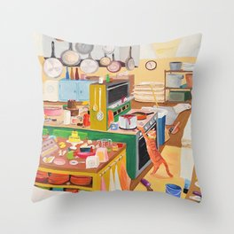 A Cat in the Kitchen Throw Pillow
