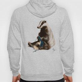 Badger Knitting a Scarf Hoody