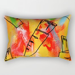 Food Illustration Carrots Pattern Vegetable Painting Rectangular Pillow