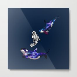Astronaut meets killer whale Metal Print