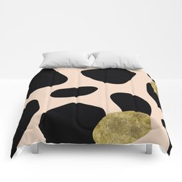Golden exotics - Cow and soft tangerine Comforters