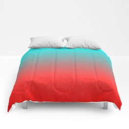 Cyan to red ombre flames Miami Sunset Comforters