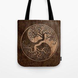 Rough Wood Grain Effect Tree of Life Yin Yang Tote Bag