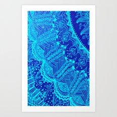 Blue SPARKLE Doodle Art Print