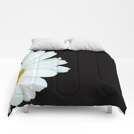 Hello Daisy - White Flower Black Background #decor #society6 #buyart Comforters