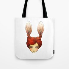 the girl with rabbit hair Tote Bag