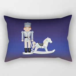 Toy Soldier with Rocking Horse on Christmas Eve Rectangular Pillow