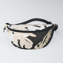 Simply Tropical Midnight Black Memphis Palm Leaves Fanny Pack