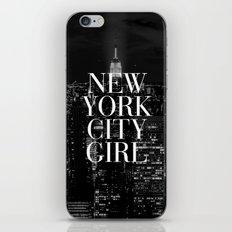 New York City Girl Black & White Skyline Vogue Typography iPhone & iPod Skin