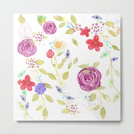 Drawn Natura Botanical Floral Pattern Metal Print