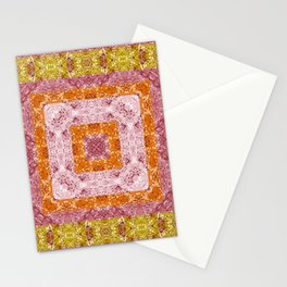 Colorful abstract pattern, patchwork, multicolored, plaid, multicolored plaid, bright, ethnic Stationery Cards