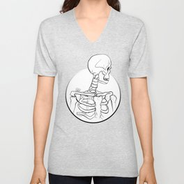Cautious in Death (with background) Unisex V-Neck