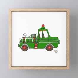 firetruck green vintage fire truck Framed Mini Art Print