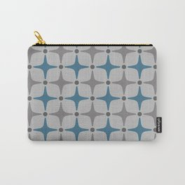 Mid Century Modern Star Pattern Grey and Blue Carry-All Pouch