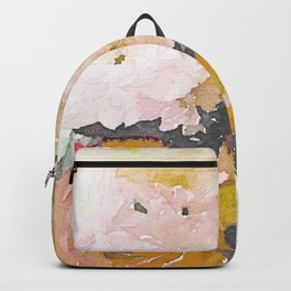 Watercolor Floral Print in Grey, Mustard, Pastel Pink, and Off White Backpack