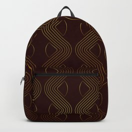 Geometric gold pattern chocolat brown Backpack