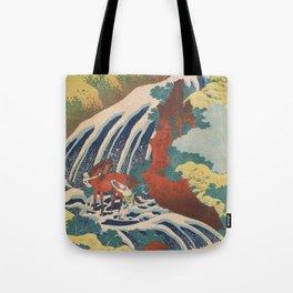 Yoshino Waterfalls Where Yoshitsune Washed his Horse by Katsushika Hokusai Tote Bag