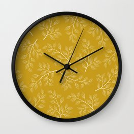 White Branch and Leaves on Mustard Yellow Wall Clock