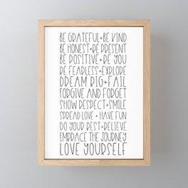 Family Reminders + Values Framed Mini Art Print