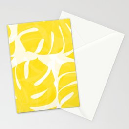 Mellow Yellow Monstera Leaves White Background #decor #society6 #buyart Stationery Cards