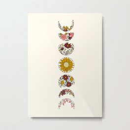 Floral Phases of the Moon Metal Print