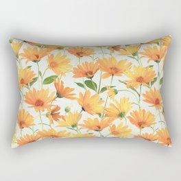 Painted Radiant Orange Daisies on off-white Rectangular Pillow