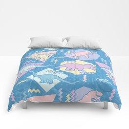 Nineties Dinosaurs Pattern  - Pastel version Comforters