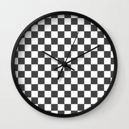 Gingham Dark Slate Grey Checked Pattern Wall Clock