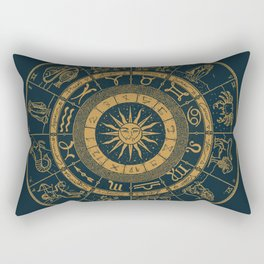 Vintage Zodiac & Astrology Chart | Royal Blue & Gold Rectangular Pillow