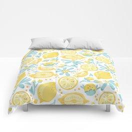 Lemon pattern White Comforters