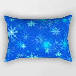 Pattern of luminous light blue snowflakes on a light background with bright highlights. Rectangular Pillow