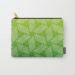 Japanese style wood carving pattern in green Carry-All Pouch