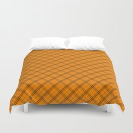 Pumpkin Orange and Black Halloween Tartan Plaid Check Duvet Cover