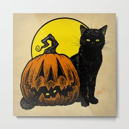 Still Life with Feline and Gourd Metal Print