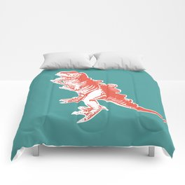 Dino Pop Art - T-Rex - Teal & Dark Orange Comforters