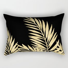 Palm Leaves Golden On Black Rectangular Pillow