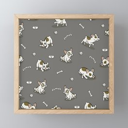Sweet Frenchie Bulldog Puppies Pattern Grey Background Framed Mini Art Print