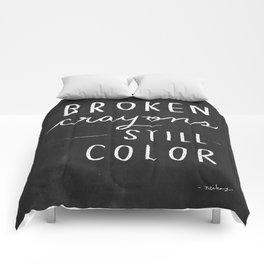 Broken Crayons Still Color - chalkboard art quote Comforters