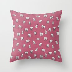 Indian Baby Elephants in Pink Throw Pillow