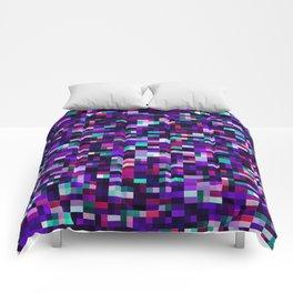 Purple pixel noise static pattern Comforters
