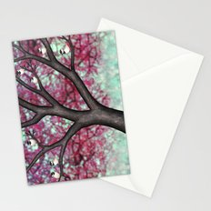 black capped chickadees and spring bokeh Stationery Cards