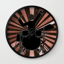 Drummer Stick Figure Wall Clock