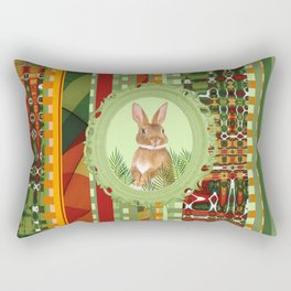 Bunny in green frame with geometric background stripes Rectangular Pillow