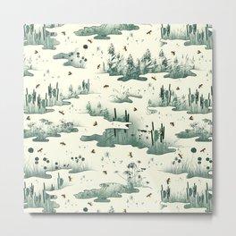 A Marsh Study - Firefly Seamless Pattern Metal Print