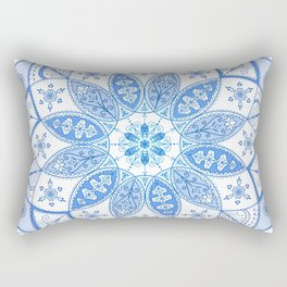 Blue Mandala Spirograph Art Pattern Design Rosette Rectangular Pillow