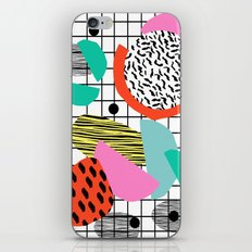 Posse - 1980's style throwback retro neon grid pattern shapes 80's memphis design neon pop art iPhone & iPod Skin