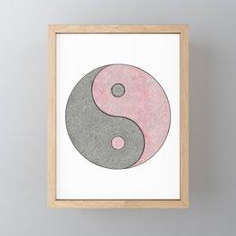 Yin Yang Esoteric Symbol Pastel Pink And Grey Framed Mini Art Print