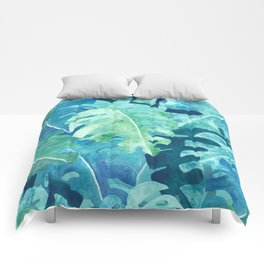 Monstera Leaves | Watercolor Collage in Blue Green Comforters